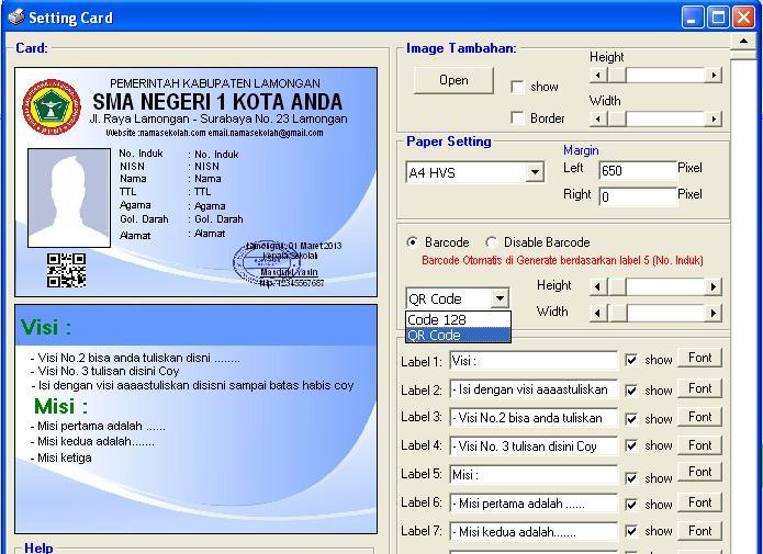 Software Kartu Pelajar Barcode