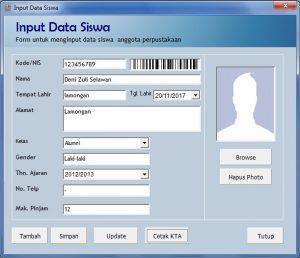 Input Data kartu Perpus